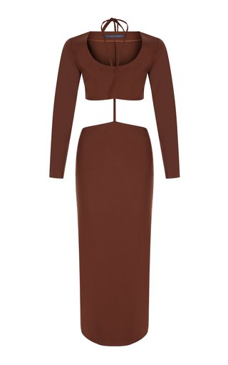 Two-Piece Wool-Blend Midi Dress
