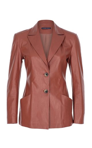 Peaked Leather Blazer