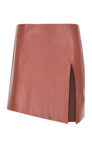 Deep Slit Mini Leather Skirt