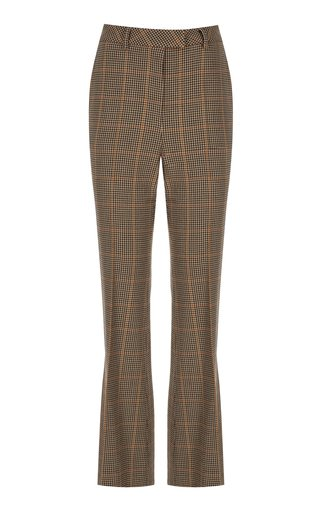 Checkered Wool Flared Pants
