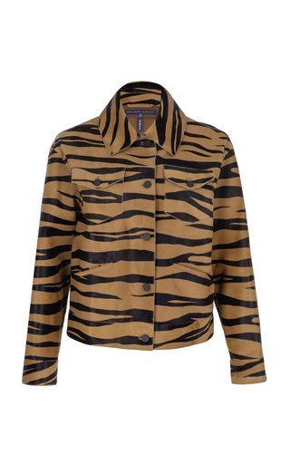 Zebra-Printed Leather Jacket