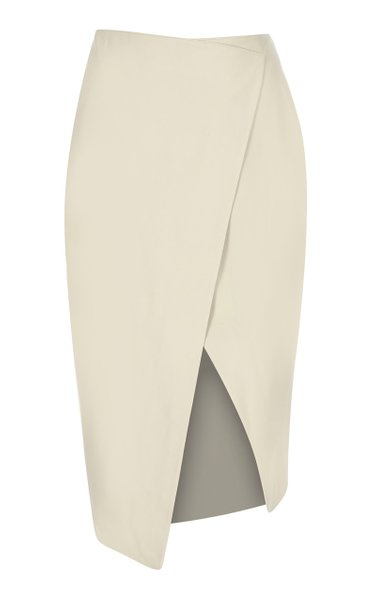 Wrap-Effect Leather Midi Skirt