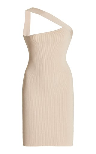 Soria One-Shoulder Ribbed-Knit Mini Dress