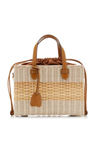 Madison Leather-Trimmed Rattan Top Handle Bag