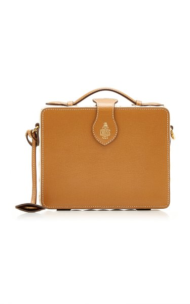 Madison Rattan-Trimmed Leather Top Handle Bag