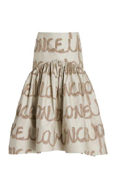 Foggia Tiered Embroidered Cotton Midi Skirt