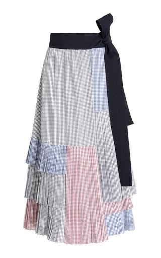 Siena Patchwork Gingham Cotton Maxi Skirt