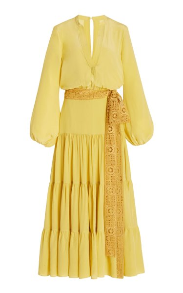 Sassari Belted Tiered Crepe De Chine Maxi Dress
