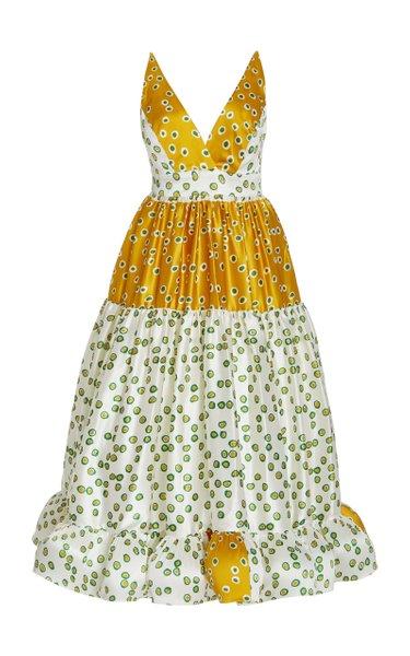Vemezia Patchwork-Print Silk Midi Dress