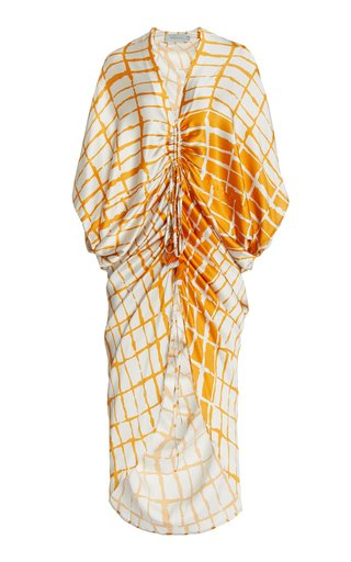 Cloister Ruched Printed Silk Maxi Dress