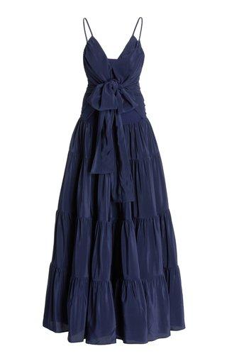 Evora Tie-Detailed Tiered Crepe Maxi Dress