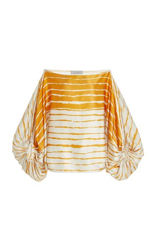 Bellagio Striped Silk Off-The-Shoulder Top