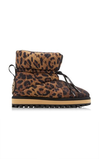 Leopard-Print Quilted Nylon Boots