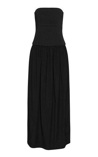 Cutout Cotton Strapless Maxi Dress
