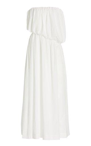 Cutout Draped Cotton Strapless Maxi Dress
