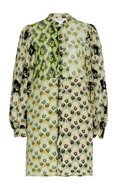 Patchwork Floral Crepe De Chine Tie-Neck Maxi Dress
