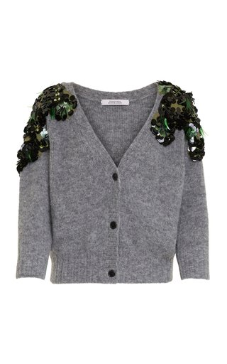 Soft Flash Embroidered Alpaca-Blend Cardigan