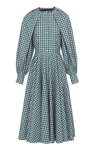Balloon-Sleeve Gingham-Checked Cotton Midi Dress