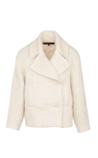 Brushed Mohair-Blend Pea Coat