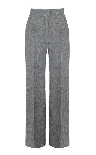 Printed High-Waist Wide-Leg Virgin Wool-Blend Pants