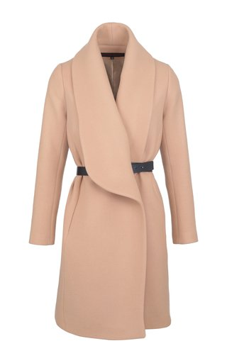 Belted Shawl-Collar Wool-Blend Coat