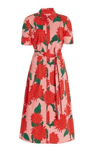 Dahlia-Print Cotton Midi Shirt Dress