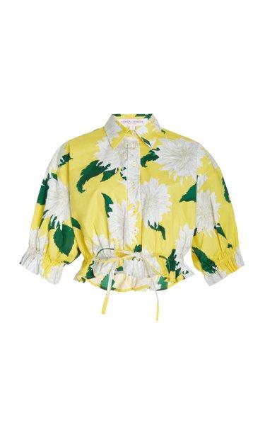 Exclusive Cropped Dahlia-Print Cotton Shirt