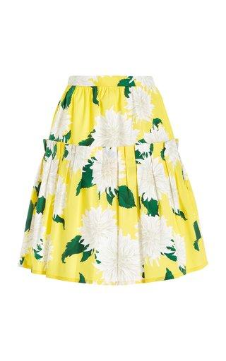 Exclusive Pleated Dahlia-Print Cotton Midi Skirt