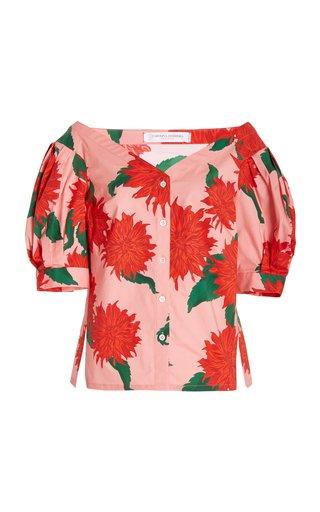 Dahlia-Print Cotton Off-the-Shoulder Top