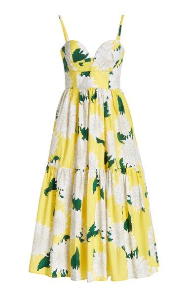 Dahlia-Print Cotton Midi Dress
