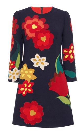 Floral-Appliqued Cady Mini Shift Dress