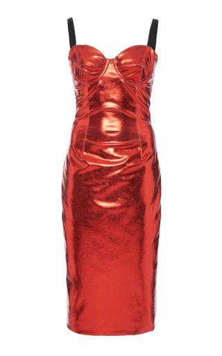 Coated Cady Bustier Midi Dress