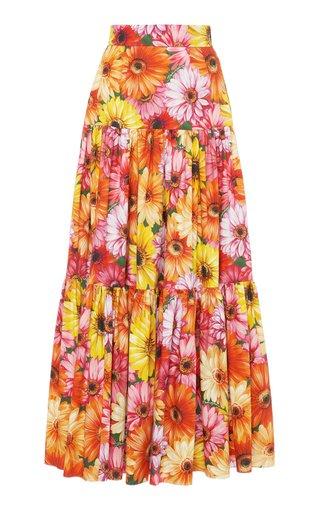 Floral Cotton Poplin Full Maxi Skirt