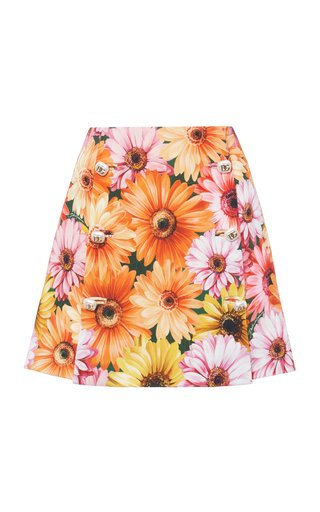 Button-Front Floral Cady Mini Skirt