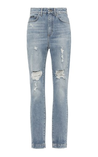 Stonewashed High-Rise Skinny Jeans