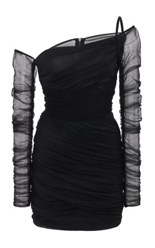 Asymmetric Draped Chiffon Mini Dress