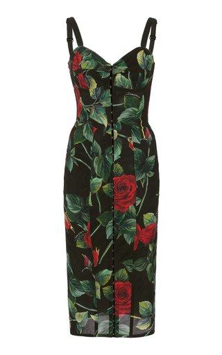 Rose-Print Tulle Corseted Midi Dress