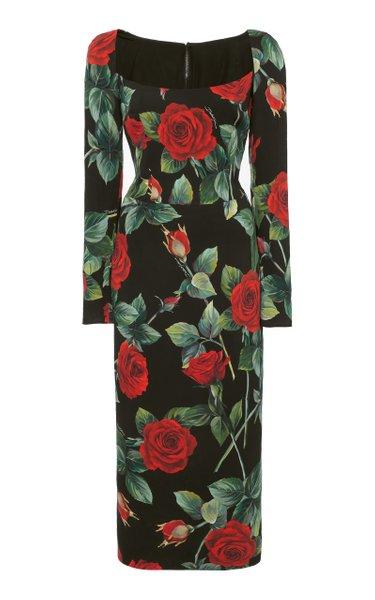 Rose-Print Charmeuse Midi Dress