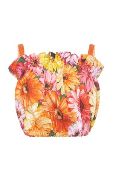 Floral Cotton Poplin Bustier Top