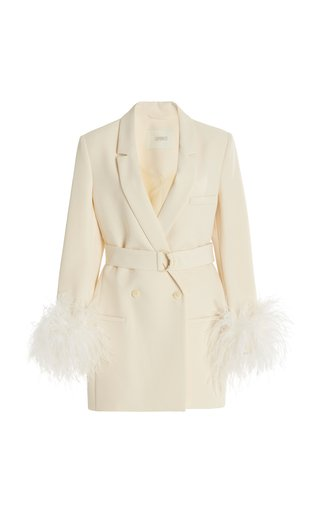 Exclusive Belted Feather-Trimmed Crepe Blazer