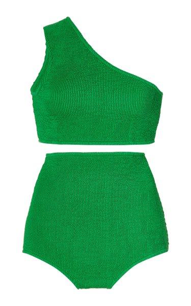 Crinkled One-Shoulder High-Rise Bikini