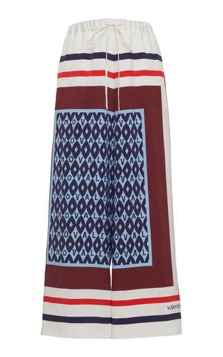 Color-Block Printed Silk Pants