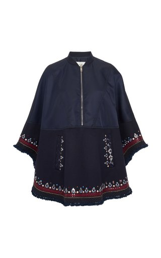 Embroidered Wool and Cashmere-Blend Cape