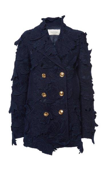 Floral-Appliqued Cotton-Blend Coat