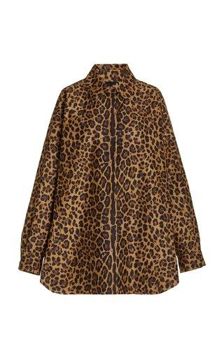 Oversized Animal-Printed Cotton-Silk Faille Shirt