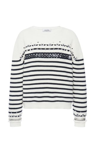 Striped Embellished Wool Sweater