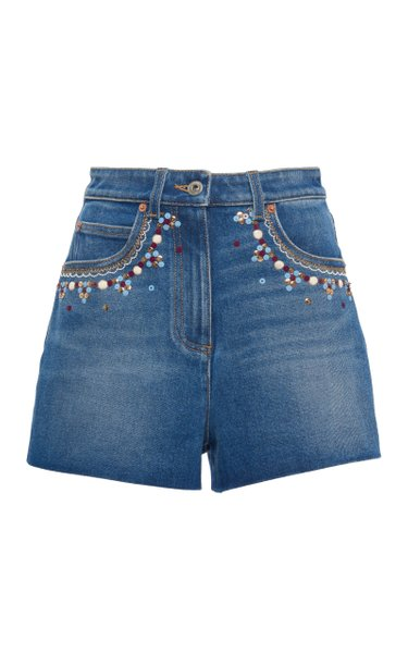 Embellished High-Rise Denim Shorts