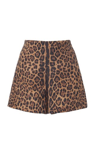 Leopard-Print Wool and Silk-Blend Shorts