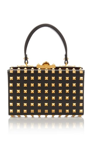 Valentino Garavani Alcove Rockstud Leather Top Handle Bag