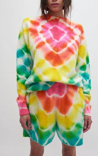 Burst Simple Tie-Dye Cashmere Top
